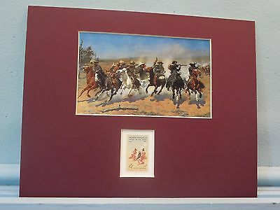 """The Dash for the Timber"" painted by Frederic Remington and his own stamp"