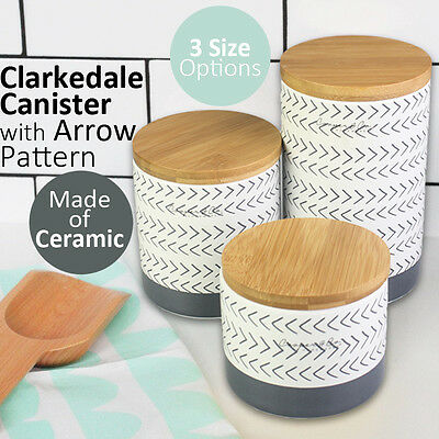 Clarkedale Canister with Arrow Pattern Kitchenware Ceramic Food Storage Organize