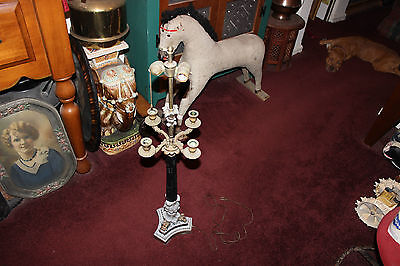 Antique Medieval Gothic Candelabra Table Lamp-Holds 4 Candles-Electric-Tall-LQQK