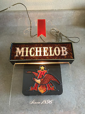 Michelob Anheuser-Busch Clear Lighted Sign Bar Pub Advertising Eagle Rare