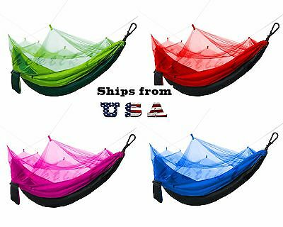 Portable Double Hammock with Mosquito Net for Outdoor Camping Traveling