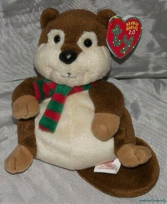 "NEW Retired 2008 TY BEANIE BABIES 2.0 Plush 6"" HOLIDAY YULE The BEAVER w/Scarf"