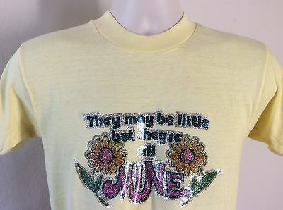 Vtg 70s Funny Iron-On T-Shirt Yellow M 50/50 Novelty Flowers