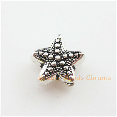 8Pcs Tibetan Silver Tone Sea Starfish Spacer Beads Charms 10x10.5mm