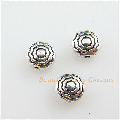 25Pcs Tibetan Silver Tone Round Flower Flat Spacer Beads Charms 5.5mm