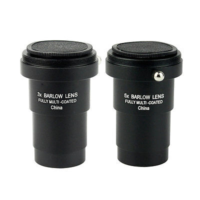 """New Metal 1.25"""" 3X/5X Achromatic Barlow Lens T-adapter for Telescope Eyepiece ES"""