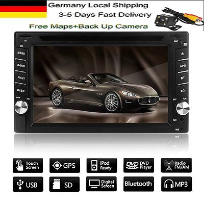 "6.2"" 2 Din Autoradio Bluetooth Car Stereo DVD Player Radio GPS NAV Camera Map"