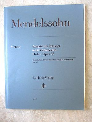 Mendelssohn Cello Sonata in D Op58 published HENLE  *NEW*  with piano part