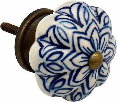 Ceramic Cupboard Drawer Knob - Vintage Flower Design - Dark Blue
