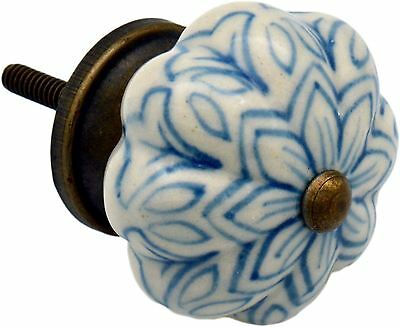 Ceramic Cupboard Drawer Knob - Vintage Flower Design - Light Blue