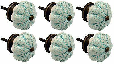 Ceramic Cupboard Drawer Knobs - Vintage Flower Design - Mint Green - x6