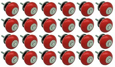 Nicola Spring Ceramic Cupboard Drawer Knobs - Red - Pack Of 24