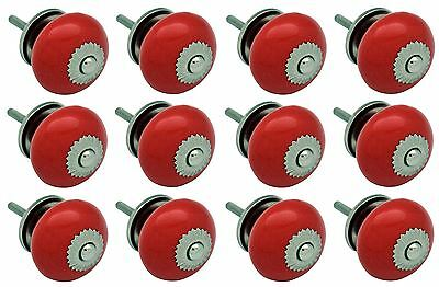 Nicola Spring Ceramic Cupboard Drawer Knobs - Red - Pack Of 12