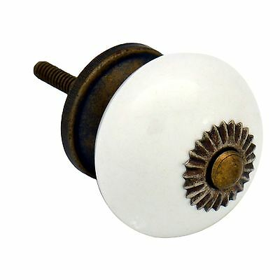 Nicola Spring Ceramic Cupboard Drawer Knob - White