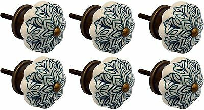 Ceramic Cupboard Drawer Knobs - Vintage Flower Design - Dark Green - x6