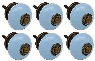 Nicola Spring Ceramic Cupboard Drawer Knobs - Blue - Pack Of 6