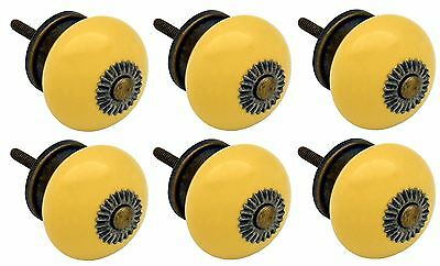 Nicola Spring Ceramic Cupboard Drawer Knobs - Yellow - Pack Of 6