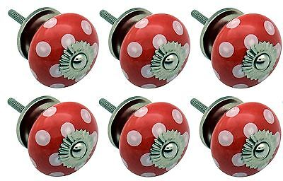 Ceramic Cupboard Drawer Knobs - Polka Dot Design - Red / White - Pack Of 6