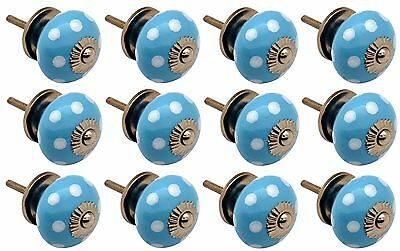 Ceramic Cupboard Drawer Knobs - Polka Dot - Light Blue / White - Pack Of 12