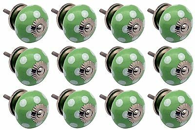 Ceramic Cupboard Drawer Knobs - Polka Dot Design - Green / White - Pack Of 12