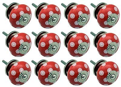 Ceramic Cupboard Drawer Knobs - Polka Dot Design - Red / White - Pack Of 12
