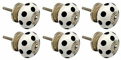 Ceramic Cupboard Drawer Knobs - Polka Dot Design - White / Black - Pack Of 6