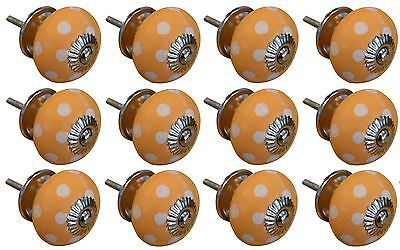 Ceramic Cupboard Drawer Knobs - Polka Dot Design - Orange / White - Pack of 12