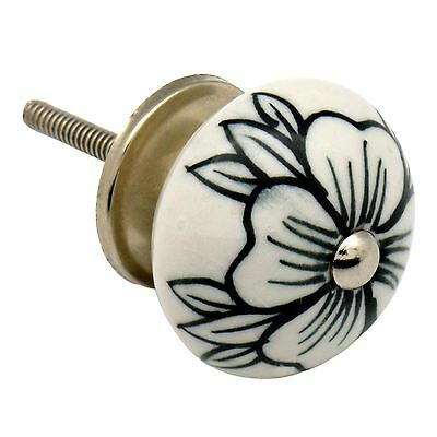 Ceramic Cupboard Drawer Knob - Floral Design - Flower Bud