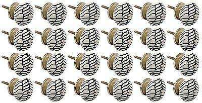Ceramic Cupboard Drawer Knobs - Floral Design - Lines - x24