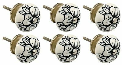 Ceramic Cupboard Drawer Knobs - Floral Design - Flower Bud - x6