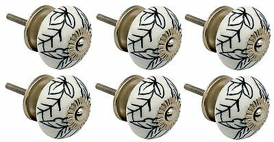 Ceramic Cupboard Drawer Knobs - Floral Design - Black / White Leaves - x6