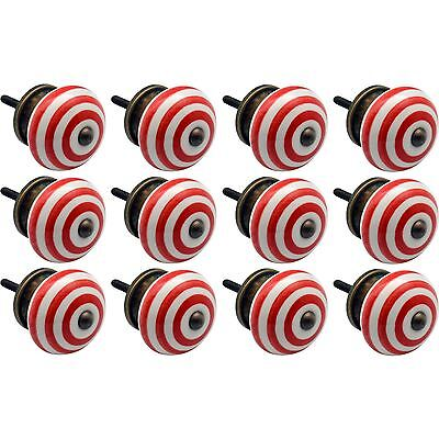 Nicola Spring Ceramic Cupboard Drawer Knobs - Stripe - Light Red - Pack Of 12
