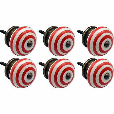 Nicola Spring Ceramic Cupboard Drawer Knobs - Stripe - Light Red - Pack Of 6