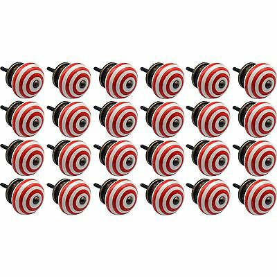 Nicola Spring Ceramic Cupboard Drawer Knobs - Stripe - Light Red - Pack Of 24