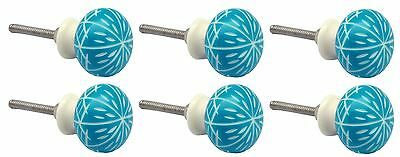 Nicola Spring Resin Cupboard Drawer Knobs - Turquoise - Pack Of 6