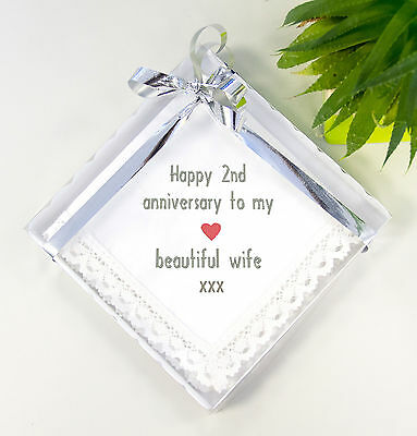 Cotton 2nd Wedding Anniversary Gift Idea, Handkerchief for Wife Husband Him Her
