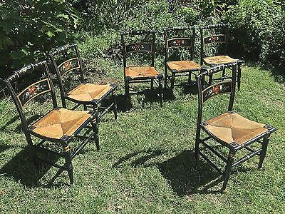 Lot Of 6 Antique Hitchcock Chairs With Thrush Seats Hand Painted Good  Condition