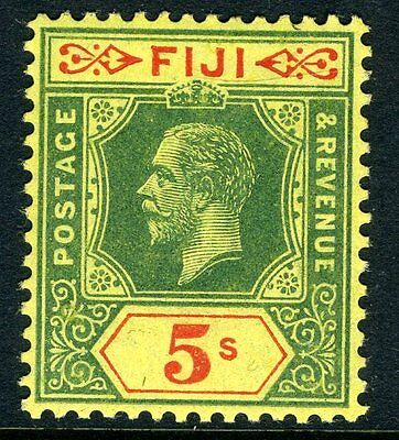 FIJI-1912-23 5/- Green & Red/Yellow Sg 136 LIGHTLY  MOUNTED MINT V11485