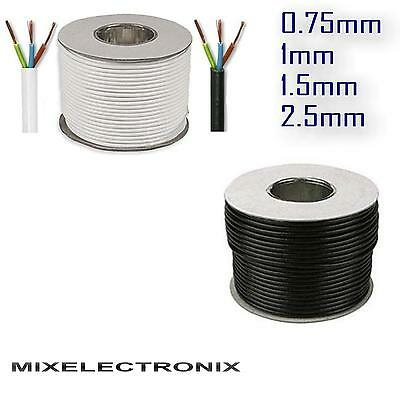 Round Flex 3 Core Cable 0.75 1 1.5 2.5 mm Flexible Wiring PCV 13 Amp Roll
