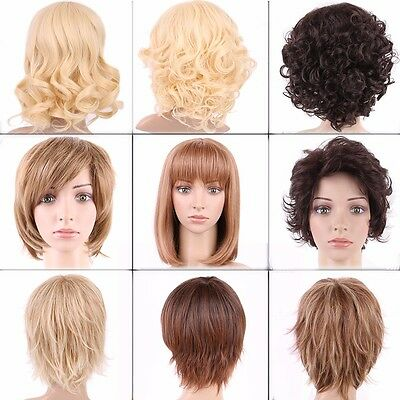 Blonde Brown Women's Short Wig Natural Straight Curly Wavy Hair Full Wigs Soft #
