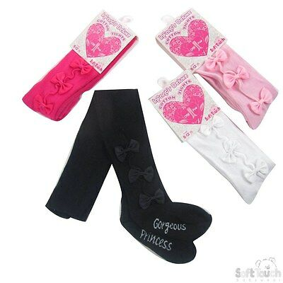 "Baby Girls Soft Touch Tights With Bows - Print On Sole ""Gorgeous Princess"""