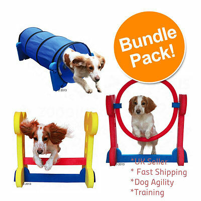 Dog Agility Equipment Tunnel Training Hurdle Hoop Set Puppy Poles Course Kit