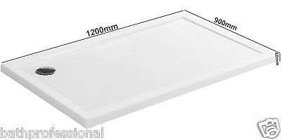 1200x900x40mm Slimline Shower Enclosure Stone Tray Rectangle Free Hi Flow Waste