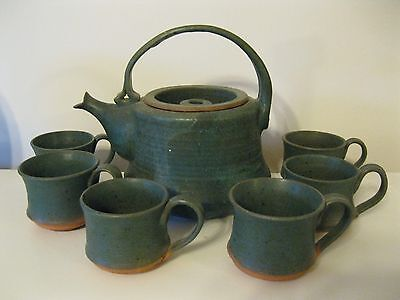 Large Hand Crafted Studio Art Pottery Apple Cider Pot W/ 6 Mugs Signed Tmd