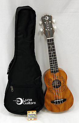 Luna Guitars Tribal Turtle Soprano Ukulele with Gigbag and Laser Decal