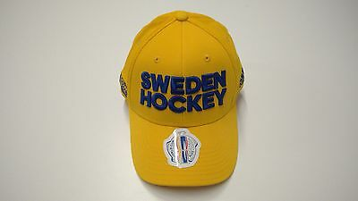 2016 World Cup of Hockey Team Sweden adidas Hat Cap Flex Flex Small/Medium