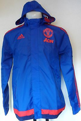 Manchester United Blue All Weather Jacket By Adidas Size Boys 15/16 Years Bnwt