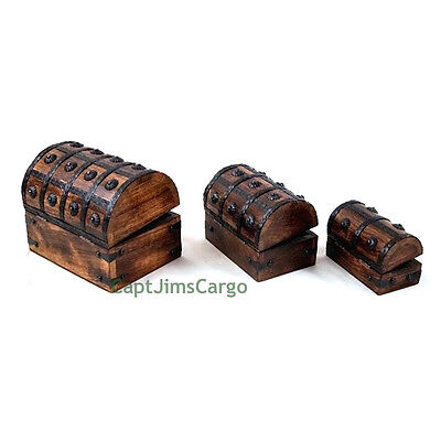 "Pirate Treasure Chest 8"" Nested Wooden Keepsake Boxes Set of 3 Nautical Decor"