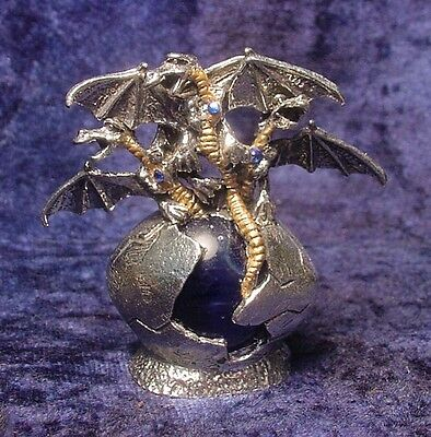 Pewter DRAGONS in EGG w/ Colorful Glass Orb and Crystals - BLUE Crystals