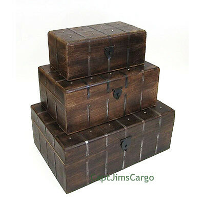 "Pirate Treasure Chest 18"" Nested Wooden Storage Boxes Set of 3 Nautical Decor"